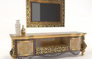 انتخاب میز تلویزیون چوبی طلایی